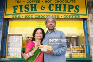 Fish and chips with Indian couple